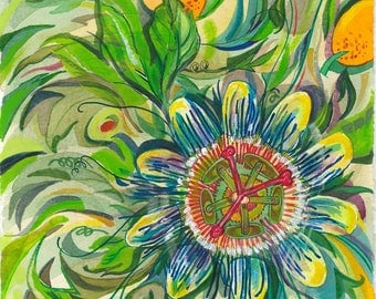 Green Passion Flower | Acrylic, Watercolor, Floral, Nature, Green, Blue, Original, Decor, Wall Art, Drawing, Colorful