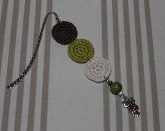 Bookmark crochet cotton Brown, green, ecru and silver metal OWL charm