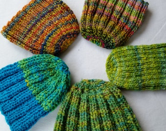 CAPS, CLASSIC hand knit, hand spun wool, colorful bright beanie, watch cap, chunky wide rib, all wool cozy, stocking-stuffer