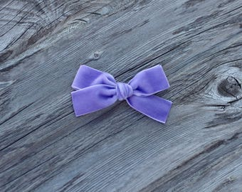 Lavendar velvet • Hand tied • bow • nylon headband • clip • baby • toddler • JANIE style • piggy tails