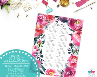 Academic Year-at-a-Glance 2018-2019 | Blush & Gray Flowers | Digital | Instant Download | Printable