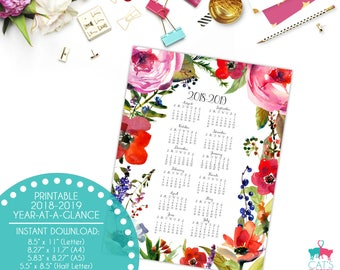 Academic Year-at-a-Glance 2018-2019 | Forest Florals | Flowers | Digital | Instant Download | Printable