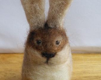 Needle Felted 0ats the Wild Bunny Rabbit Small Decorative Felt Ornament Keepsake