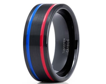 Black Tungsten Wedding Band Red Tungsten Ring Blue Tungsten Ring Men & Women Tungsten Carbide Ring Anniversary Band Brush