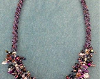 Purple jewel beaded necklace
