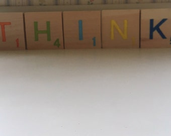 """Colorful scrabble tiles """"think"""" 3.5 inch"""