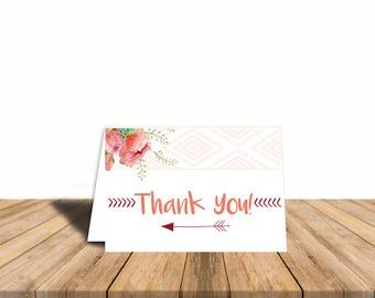 Bohemian Chic Thank You Card, Blank Inside, Automatic Digital Download, Girl