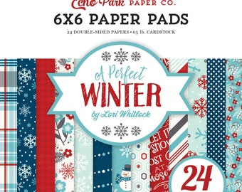 6x6 Echo Park Paper Pad, A Perfect Winter, 24 Double Sided Christmas Cardstock