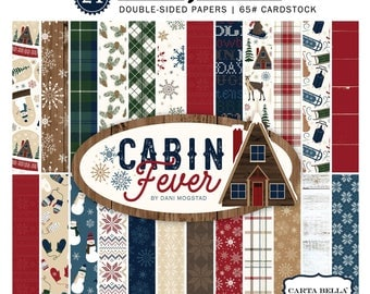 6x6 Carta Bella Paper Pad, Cabin Fever, 24 Double Sided Christmas Cardstock