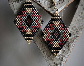 Earrings glass beads Miyuki black, grey, gold and red, gold metal hooks