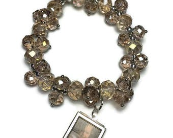Champagne glass bead stretch bracelet with small silver photo frame, charm bracelet, women's, picture frame, under 20, pink bead bracelet