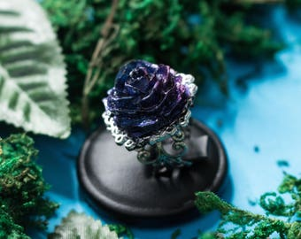 Fairy Dream, Ring with blue and purple handmade rose, Adjustable decorated ring, Gift for her birthday, Valentine's Day
