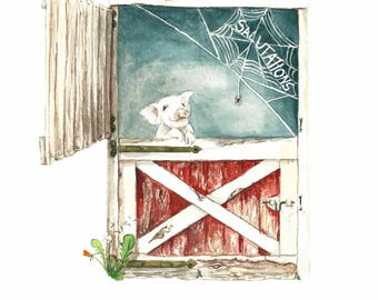 Literary Window Series: Charlotte's Web inspired 5x7 Watercolor, Art Print, Children's Books, Nursery Art, Classic Literature