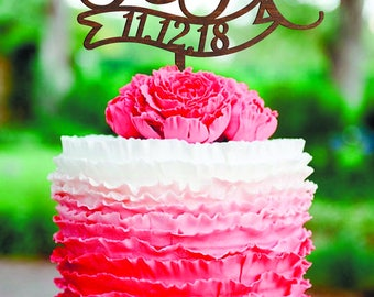 Customized wedding cake topper Two letters with date Initial Cake Topper F wood letter R Personalised cake topper date Mr & Mrs cake topper