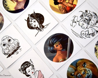 Sticker round 38 mm - many Illustrations - Marylou Deserson
