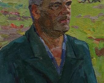 VINTAGE MALE PORTRAIT, Original Oil Painting by a Soviet artist A.Solodovnikov, 1970s, Portrait of a man, Socialist Realism, One of a kind