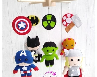 Baby Mobile Nursery Mobile Marvel Superhero Mobile Felt Crib Mobile Superhero Nursery Cot Mobile baby Shower Gift Batman Ironman Hulk Thor