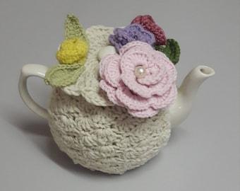 Cream Boquet Crochet Tea Cozy