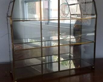 Curio Cabinet, Brass and Glass Curio