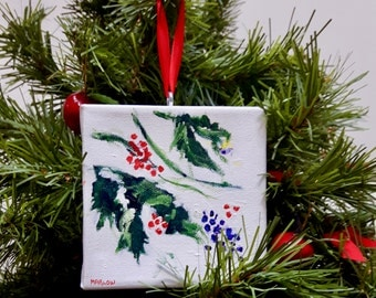 "Winters bouquet  1    Christmas tree ornament,  original signed painting, winter, acrylic on 4""x4""canvas"