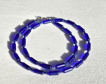 Cobalt Blue Glass Necklace / Patterned Minimalist Dark Blue Necklace / Glass Tube Beaded Necklace / Handmade Necklace / Gift for Her