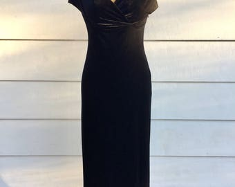 Vintage 90s Black Faux Velvet Gown with Wrapped Bust