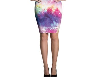 Cactus Printed Pattern Bright, Bold, Classic Pencil Skirt, Rainbow Space Skirt, Form Fitting High Waisted Skirt, Knee Length Skirt, Stretchy