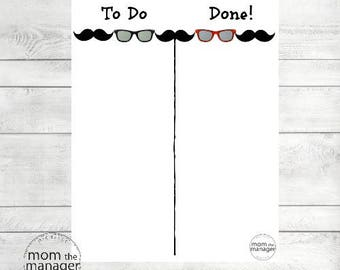 To Do and Done: Moustache and Sunglasses Laminated Velcro Daily Chore, Task and Routine Chart