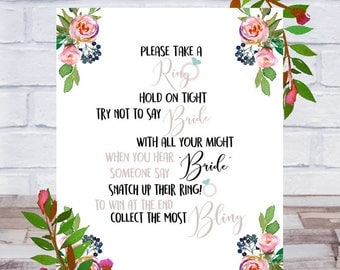Don't Say Bride, Bridal Shower Games Printable, Take a Ring Game, Bling, Bachelorette Party, Size 8x10, Roses, Instant DIGITAL DOWNLOAD