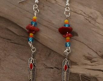 ethnic earrings Tibetan silver feather chips 6.5 cm