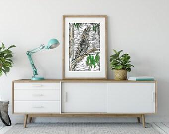 Tawny Frog Mouth/ hand coloured/ Linoprint/ Original artwork / Hand printed/ Australian birds/ Tawny/ art/ sacred tools/ spirit messenger