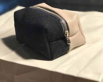 Bubba Kush - Baby Pink and Black Pebbled Leather Stash Bag
