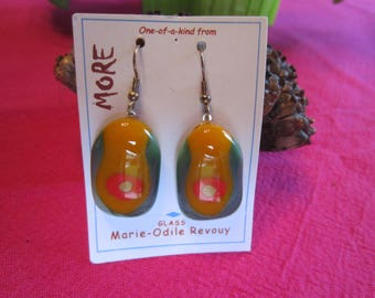 Green, orange and Red fused glass earrings