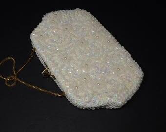 Vintage Purse, Gorgeous Ivory White Beaded Handbag, Iridescent sequins, White flowers, Canada, Montreal, GeoMercier, Wedding Purse, Prom