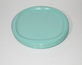 Vintage, MIRALYN, turquoise blue, Set of 6, dinner plate, Mid century, Hard Plastic, Melamine, Dinnerware, Camping, Canada