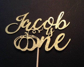 Custom Name ONE / First Birthday Cake Topper in Sparkling Glitter - Perfect for Autumn or Halloween Birthdays!