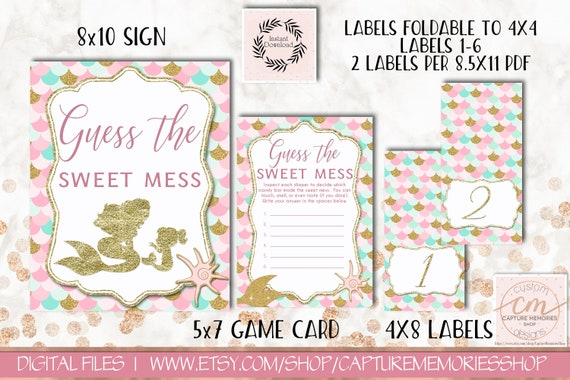 Mermaid Baby Shower Games Guess The Sweet Mess Sign Game Card And