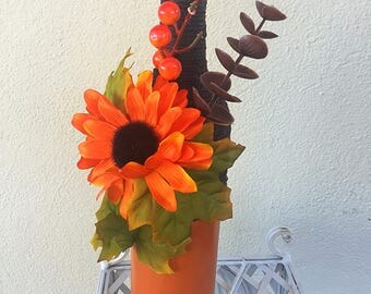 Painted wine bottles // Home decoration  // Autumn Decoration //centerpiece // brown decoration// sunflowers // twine wrapped bottles