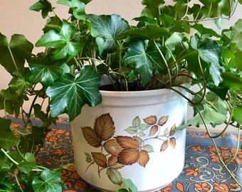Autumnal Leaves Plant Pot / Large Vintage Planter