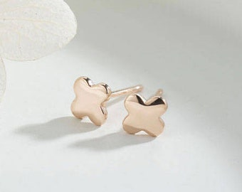 14K yellow gold clover earring . solid gold . flower earring. elegant and simple stud. earring stud jewelry. kids earring. tiny