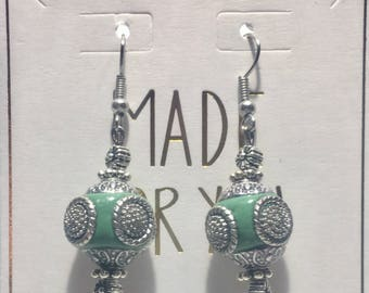 Aqua/Silver Earrings