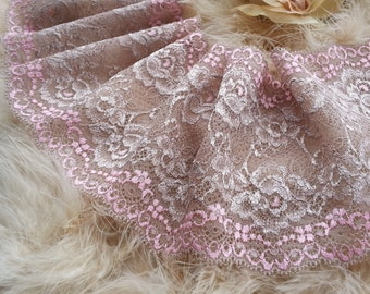 1yd (0.91m) of Raschel Stretch Lace- Brown and pink floral pattern - 14.5cm(5.7inch) Wide,RL_SL015