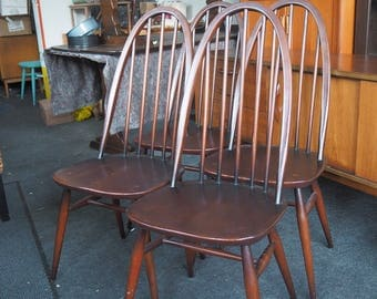 Set of 4 Vintage 1960s Ercol Windsor 365 Quaker Chairs (can be painted on request at extra cost)