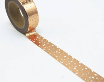 Copper Washi Tape. Gold Dotty Washi Tape. White Spotty Planner Tape. Cute Kawaii Paper Tape. Stationary Bullet Journal Supplies. Craft Tape.