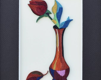 "Abstract Rose - Quilled Art Painting - Quilling Wall Art - 1/8"" (3mm) paper strips"
