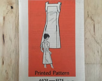 """Vintage mail order pattern 4923 sheath dress with sleeveless or short sleeve options Size 12 Bust 34"""""""