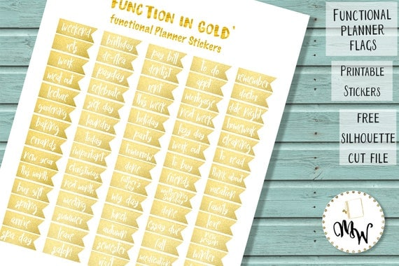 Gold Functional Stickers Printable Eclp Planner Flags Gold
