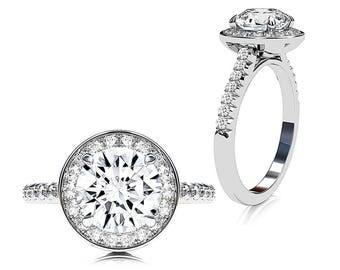 Diamond Halo Engagement Ring & Forever One 1.2ct Moissanite Center in 14K White Gold