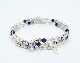 Swarovski crystal memory wire double coil bangle in silver pink purple black and clear colours