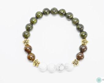 Bronzite, Howlite & Green African Jasper bracelet